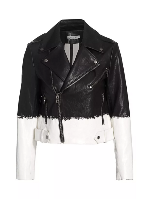 Alice + Olivia Cody Two-Tone Leather Crop Moto Jacket Brush Stripe S