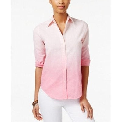 American Living Ombre Button-Front Shirt Pink Multi L