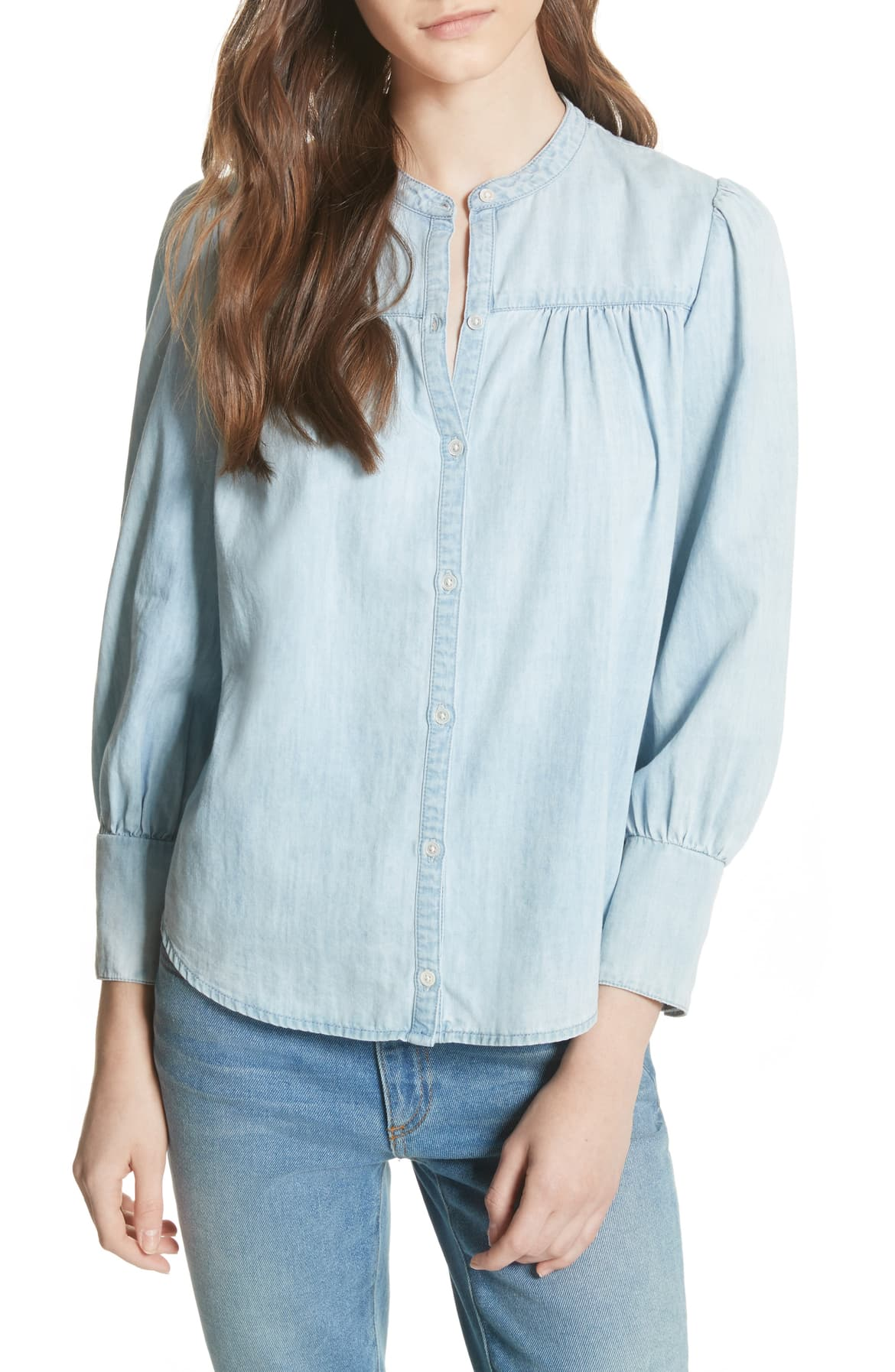 Joie Aubrielle Silk Cotton Chambray Top Western Faded S