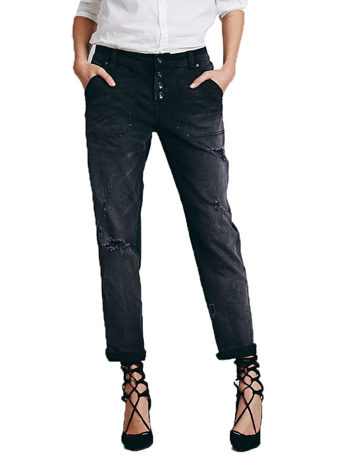 Free People Women's Mid-Rise Relaxed Mountaineer Jean Black 0