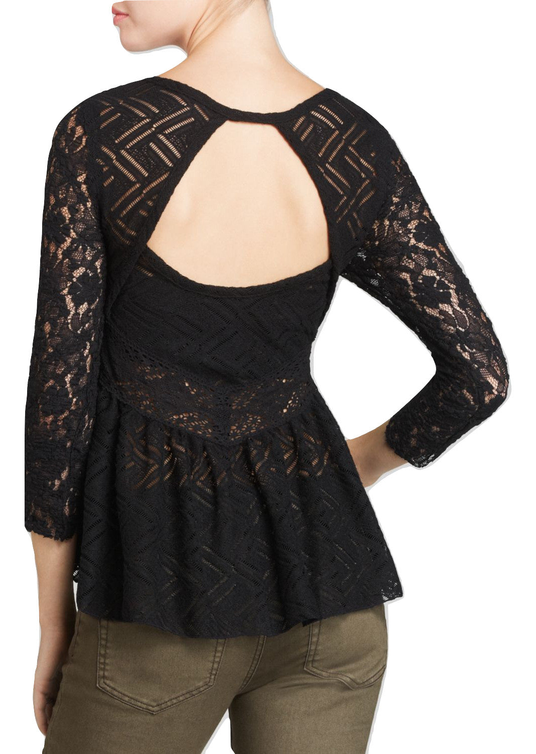 Free People Gracie Three-Quarter-Sleeve Top Black XS - Gear Relapse