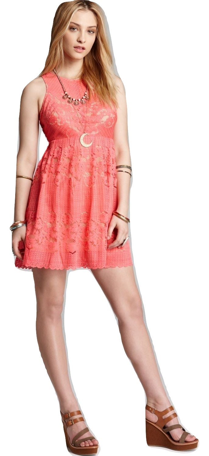 Free People Lace Rocco Dress Cherry Coral 6