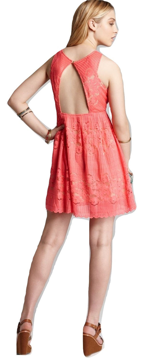 Free People Lace Rocco Dress Cherry Coral 6 - Gear Relapse