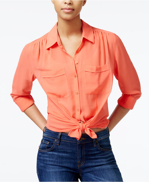 Guess Women's Point-Collar Cropped Top Coral Punch XS