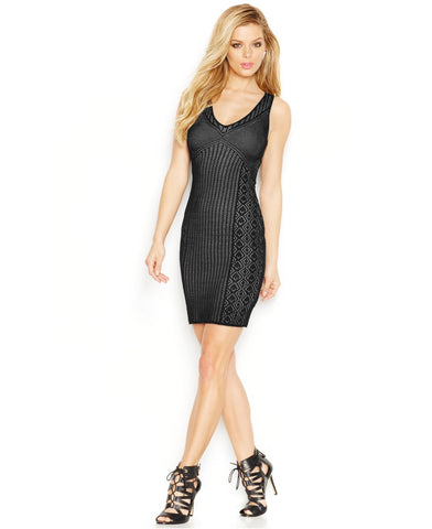 GUESS Pointelle Sheath Dress Jet Black M