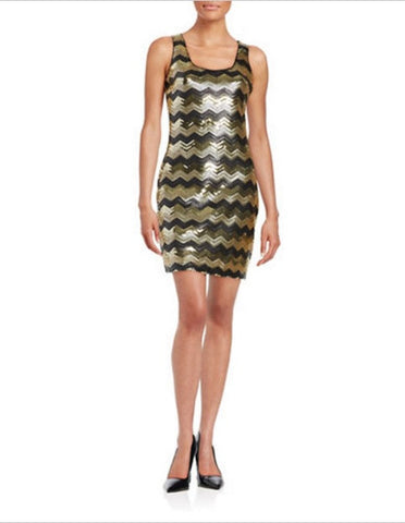 GUESS Sequined Chevron-Print Tank Dress Gold/Black 12