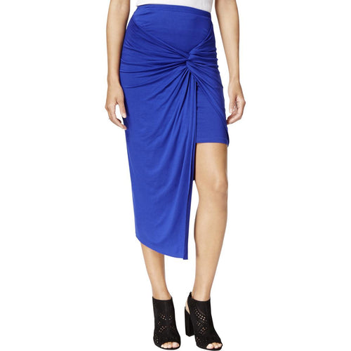Kensie Women's Layered Knot-Front Asymmetrical Skirt Dark Sapphire L