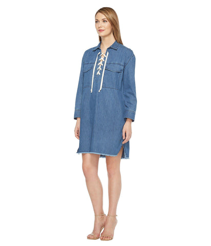GUESS 1981 Original Long Shirtdress Denim W/ Laser Detail Light Wash S