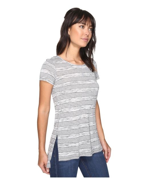 kensie Speckled-Stripe High-Low T-Shirt Navy Combo M