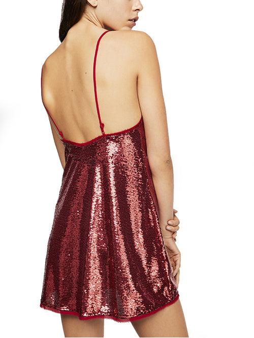 Free People Women's Time To Shine Slip Sequined Dress Canyon M
