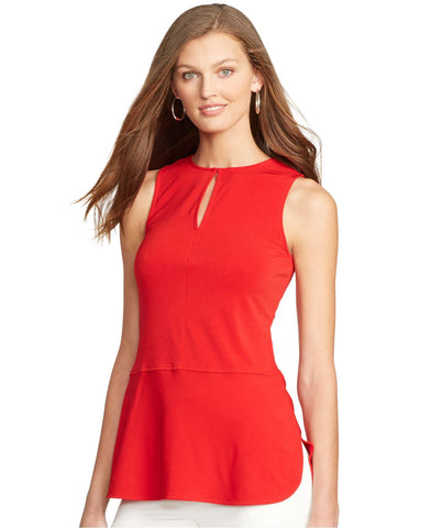 Lauren Ralph Lauren Sleeveless Keyhole Top Faded Red L