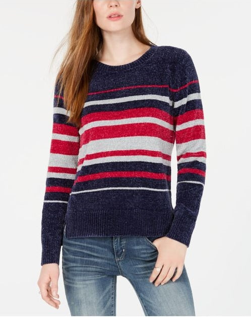 Maison Jules Women's Striped Chenille Crew Neck Long Sleeve Sweater