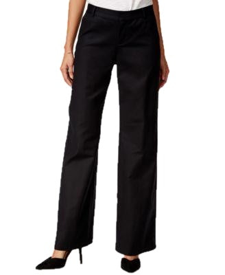 kensie Cropped Ribbed Wide-Leg Pants Black M