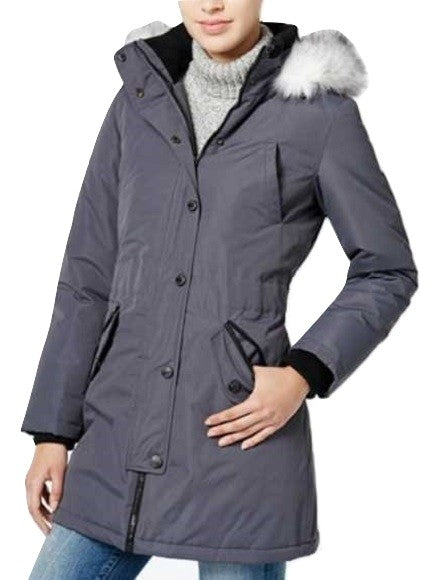 Wildflower Hooded Faux-Fur-Trim Puffer Coat Mech Grey XL