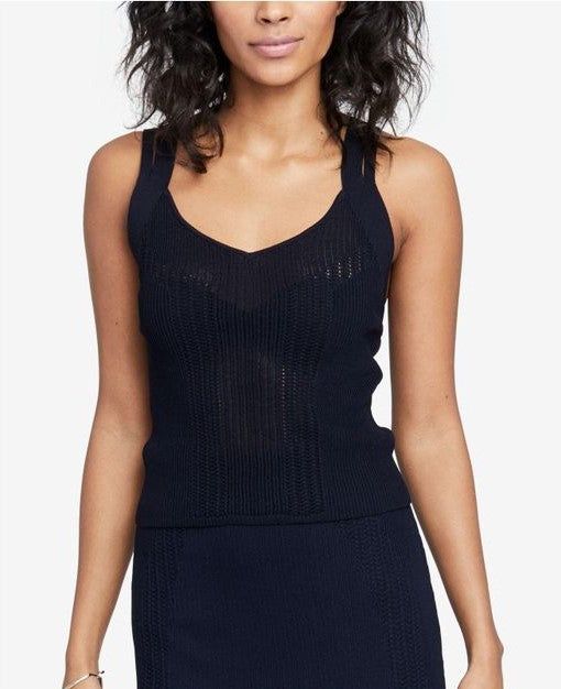 RACHEL Rachel Roy Women's Strappy Open-Knit Top True Navy S