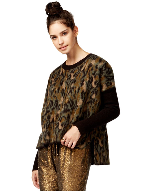 Rachel Roy Long Sleeve Animal-Print Combo Sweater XL