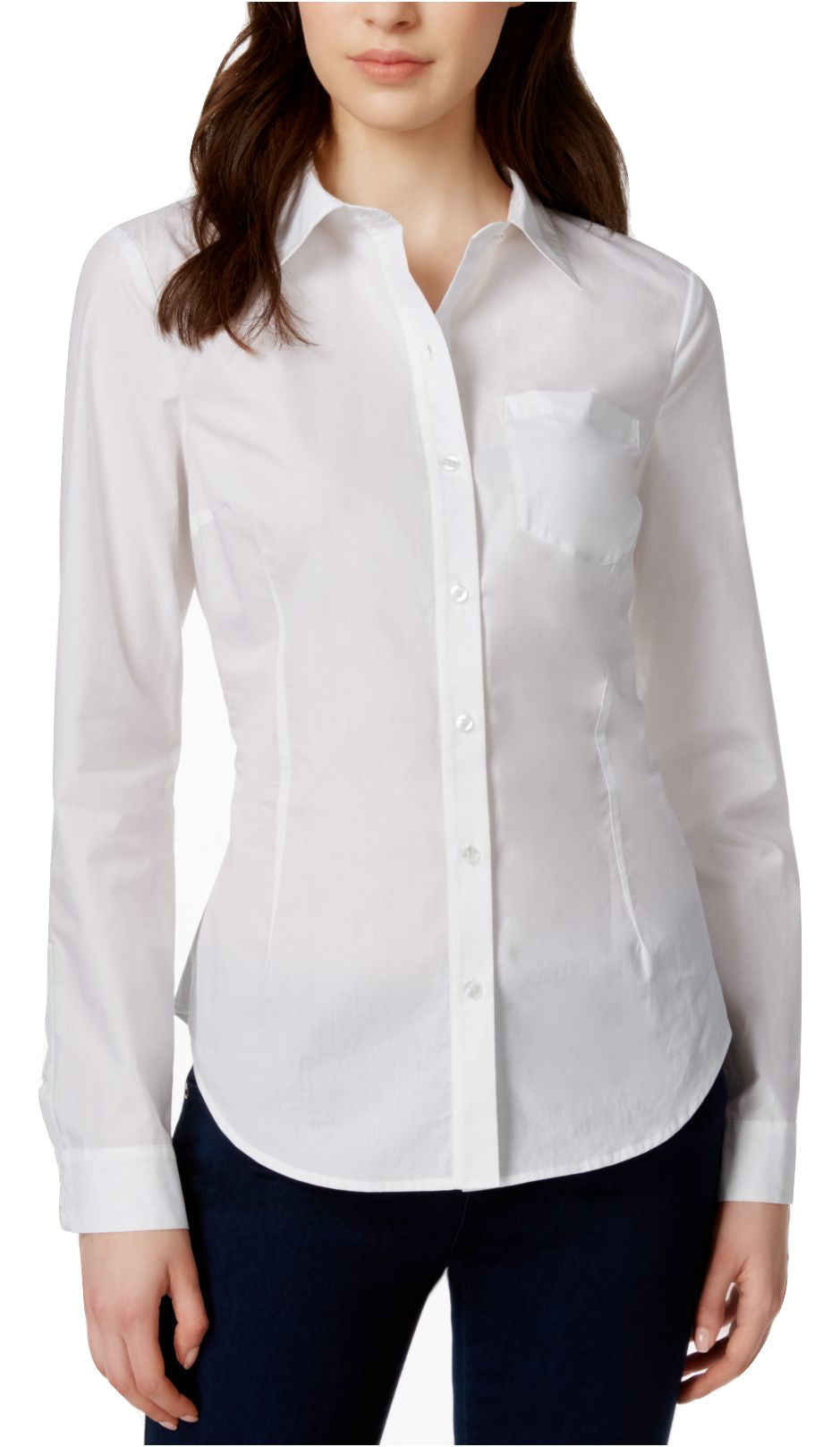 Rachel Rachel Roy Cutout Button-Down Shirt White S