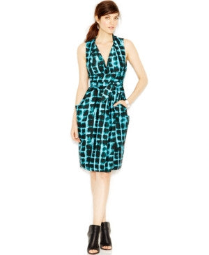 Rachel Roy New Black Teal V-Neck Printed Robe Dress - Gear Relapse