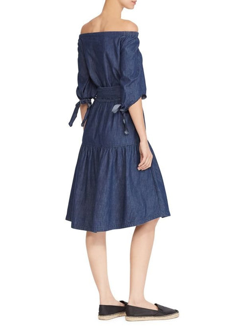 Lauren Ralph Lauren Fit Flare Denim Dress Expedition Blue Wash
