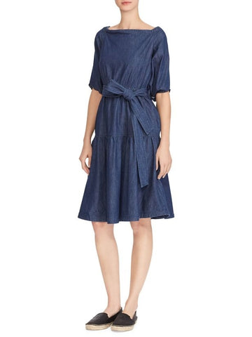 Michael Kors Cold-Shoulder Ruffled Chambray Dress S