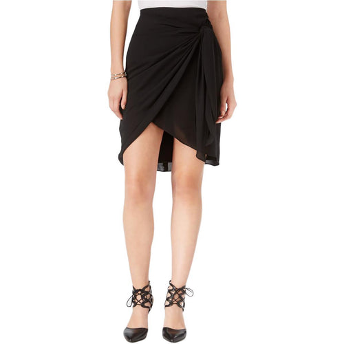 Bar III Asymmetrical Knot-Detail Skirt Deep Black 4 - Gear Relapse