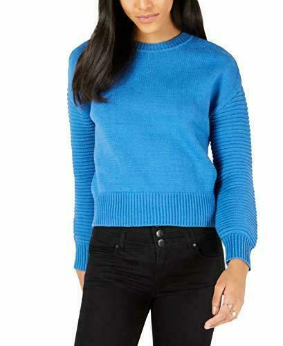 Maison Jules Ribbed-Sleeve Sweater Cornflower Petal M