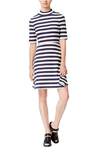 Maison Jules V-Neck Flutter-Sleeve Dress Blu Notte