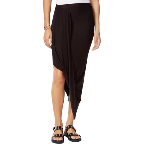 Bar III Draped Asymmetrical Skirt Deep Black S - Gear Relapse