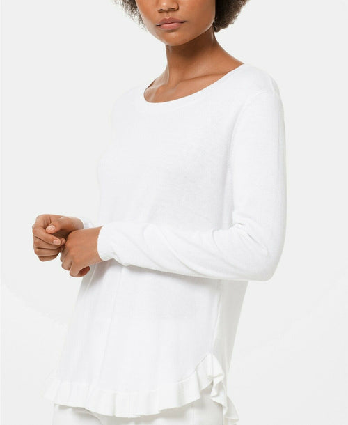 MICHAEL Michael Kors Women's Ruffled-Hem Pointelle Sweater White P/L