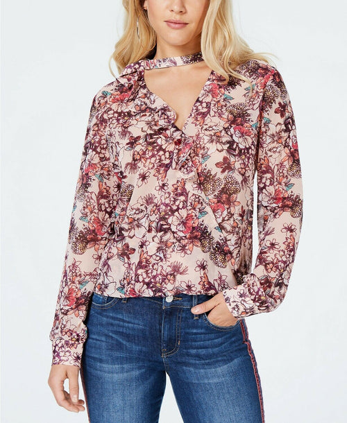 GUESS Elsa Ruffled Choker Top Hyper Bloom Print Rose Dust S