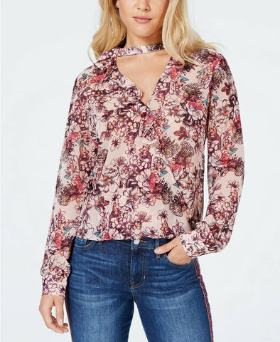 GUESS Women's Zion Printed Ruched Top Garden Fever Print Sultry Red M