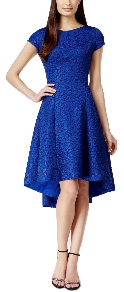 B Michael Textured High-Low A-Line Dress Royal Blue 8 - Gear Relapse