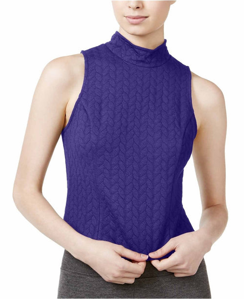 kensie Women's Quilted Zip-Back Top Electric Purple XL