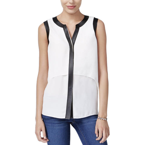 Bar III Sleeveless Faux-Leather-Trim Top Egret