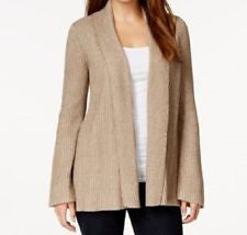 Style &co. Open-Front Knitted Cardigan Brown L