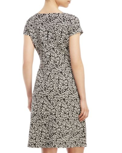 IVANKA TRUMP Patterned Fit and Flare Dress Black Combo 2