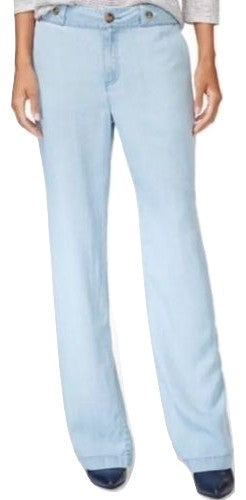 Maison Jules Women's Chambray Wide-Leg Pants Chambray 10