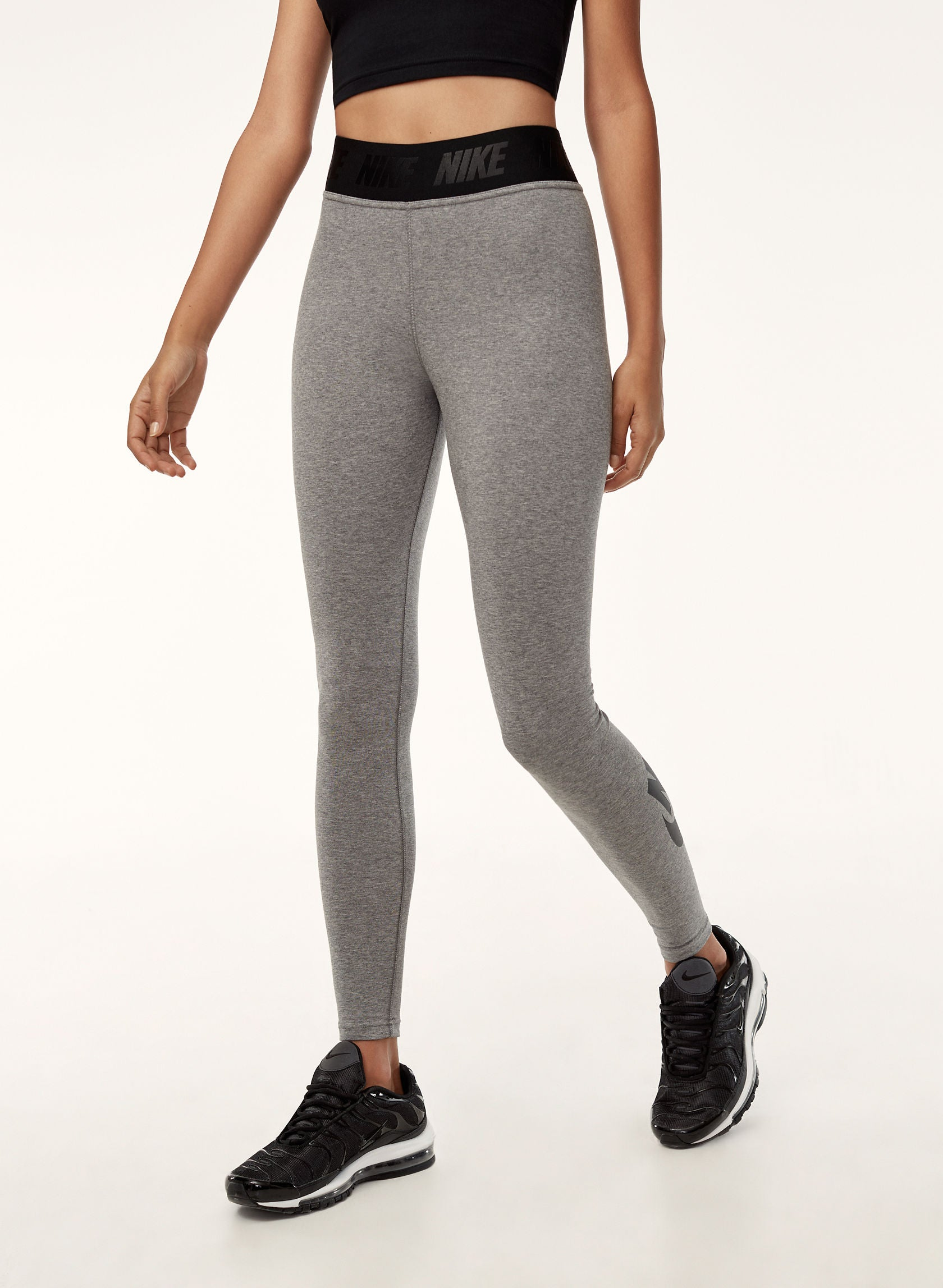 Nike Women's Sportswear Leg-A-See Leggings Carbon Heather/Black XL