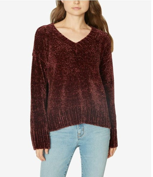 Sanctuary Women's Chenille Long Sleeve V-Neck Pullover Sweater