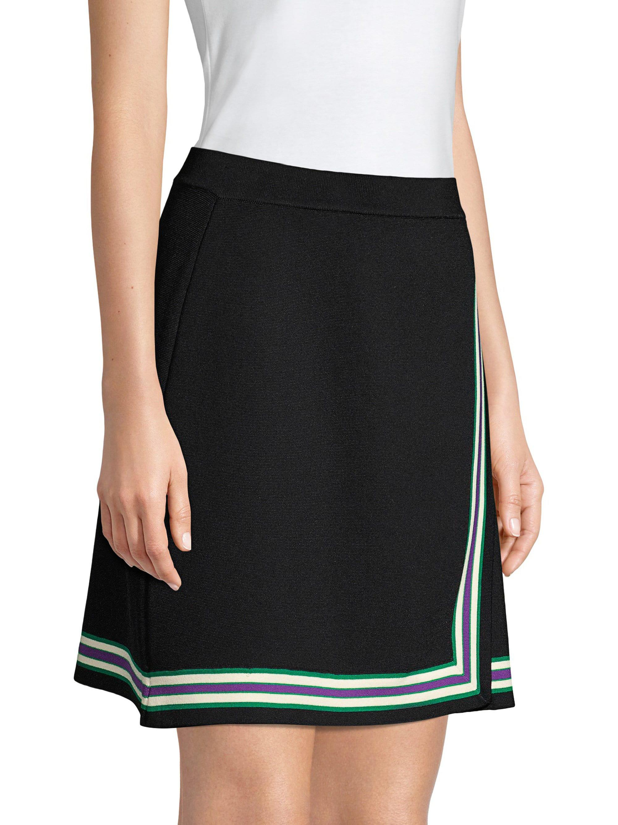 Sandro Women's Elodie Striped Crossover Skirt Noir