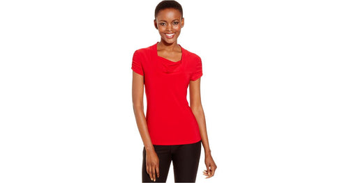 Tahari Women's ASL Short-Sleeve Draped Ruched Top Red L