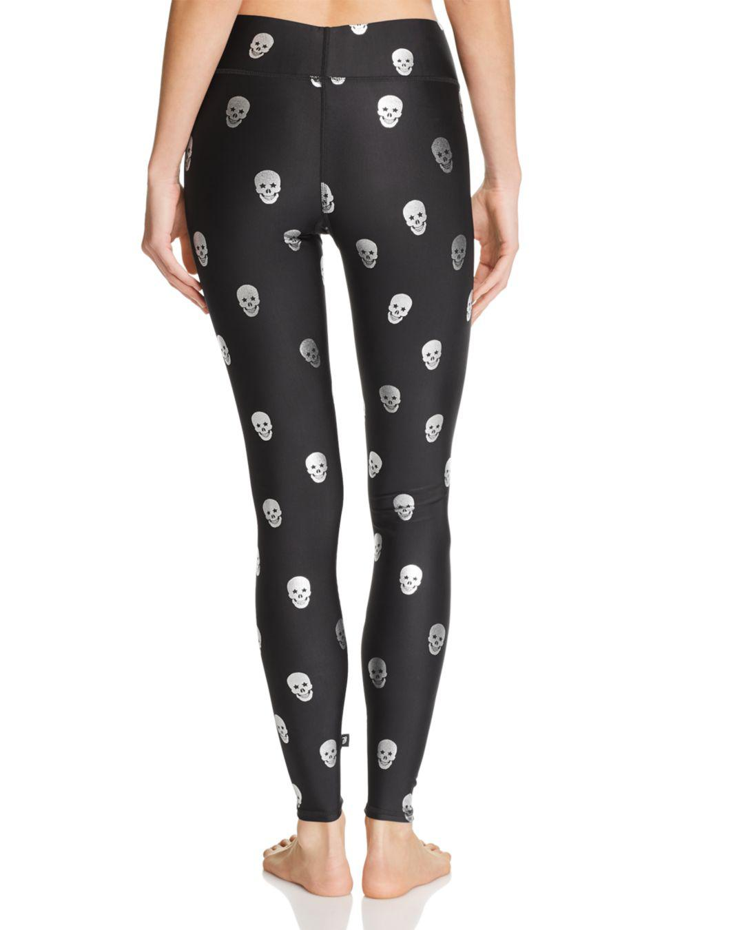 Terez Women's Metallic Skull Print Leggings Black L