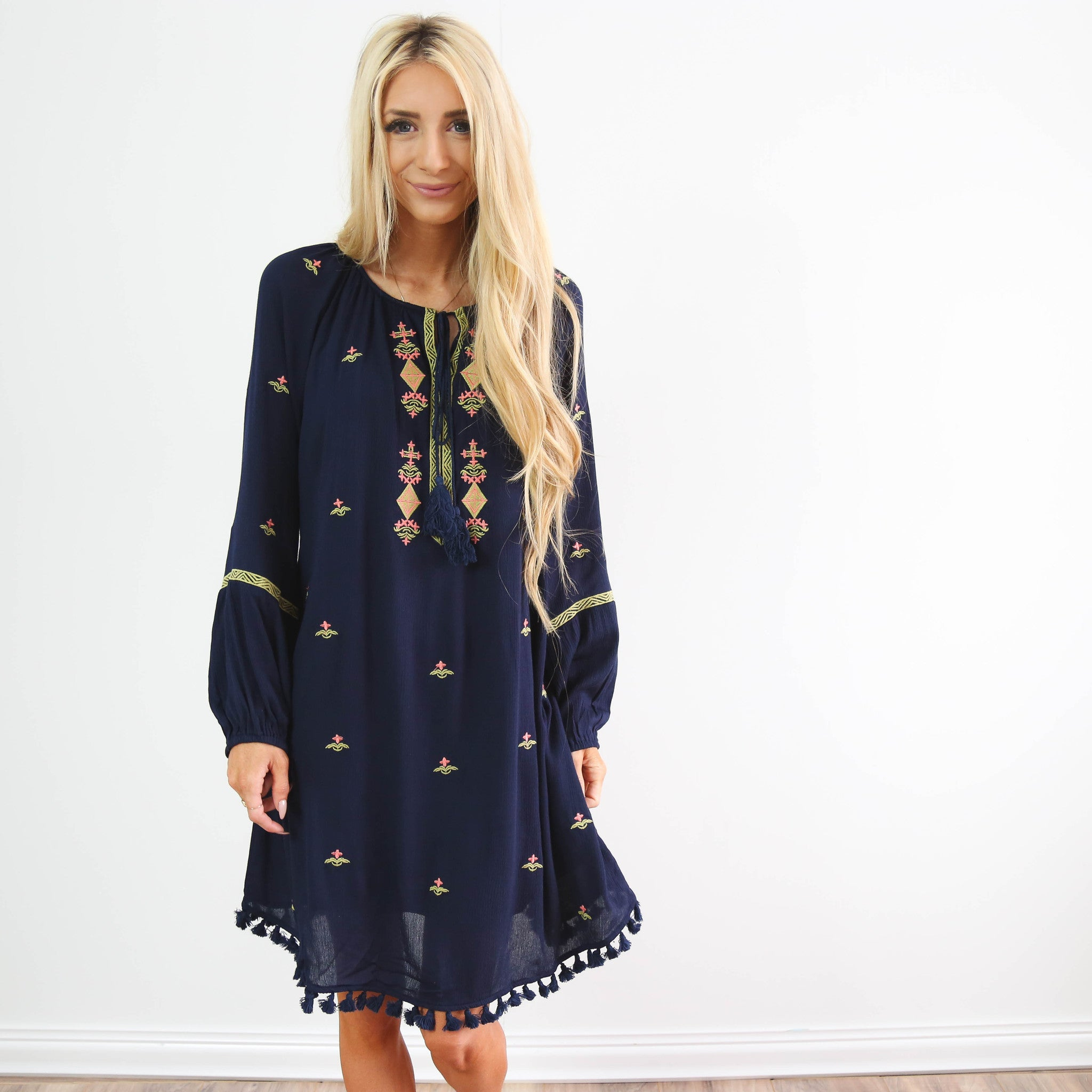 Navy Embroidered Flowers Dress