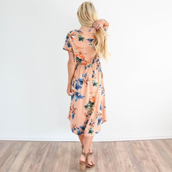 Layla Floral Pocket Dress in Blush