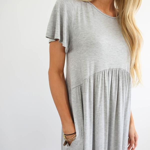 Kaira Pocket Dress in Heather Grey
