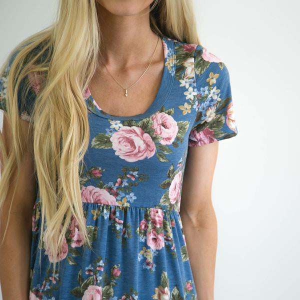 S & Co. Tillie Floral Dress in Dusty Blue