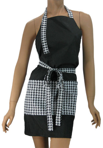 Cosmetology Apron Black With Houndstooth Trim