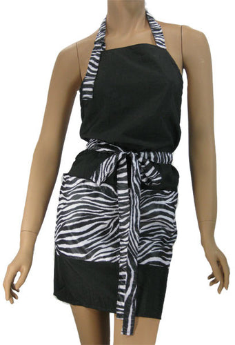 Stylist Apron In Black With Zebra Trim