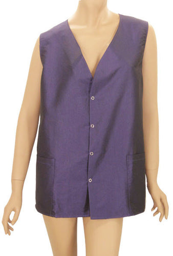 Plus Size Hair Salon Stylist Vest Plum Shimmer