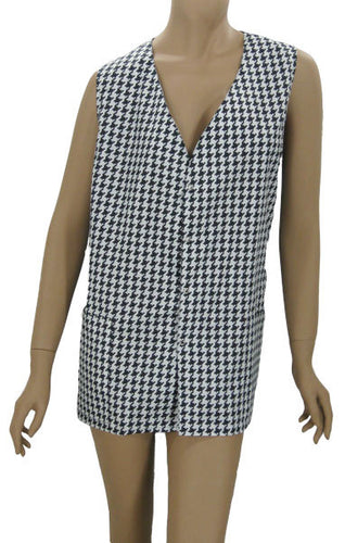 Plus Size Hair Dresser Vest Hounds Tooth
